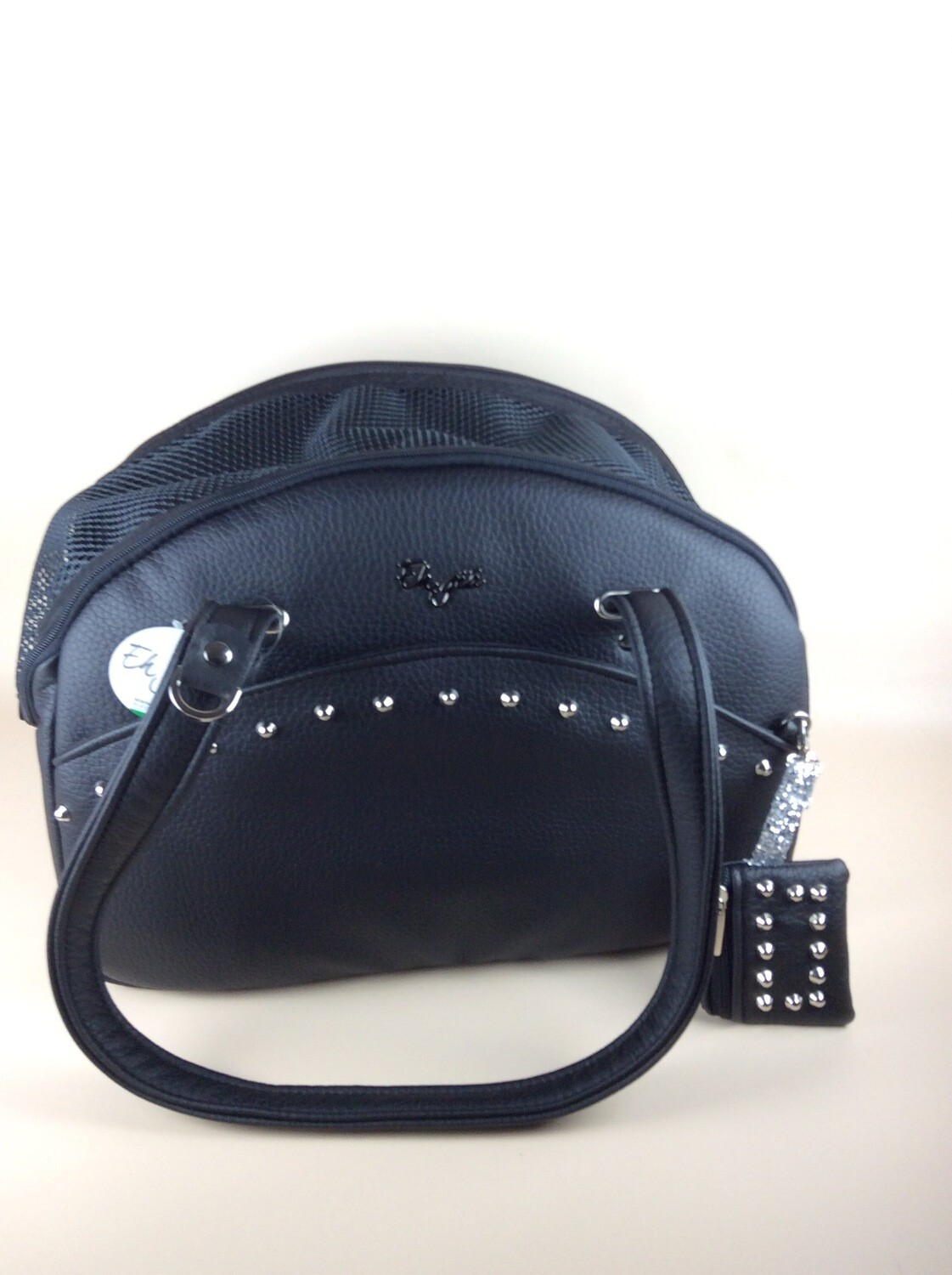 Traveller bag black with studs + waste bag