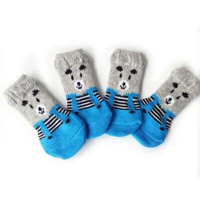Antislip warm cartoon dog socks S