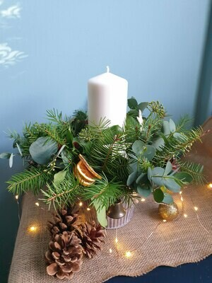 Traditional Christmas candle arrangement