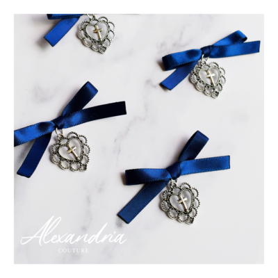 Silver Heart Cross Navy Martirika