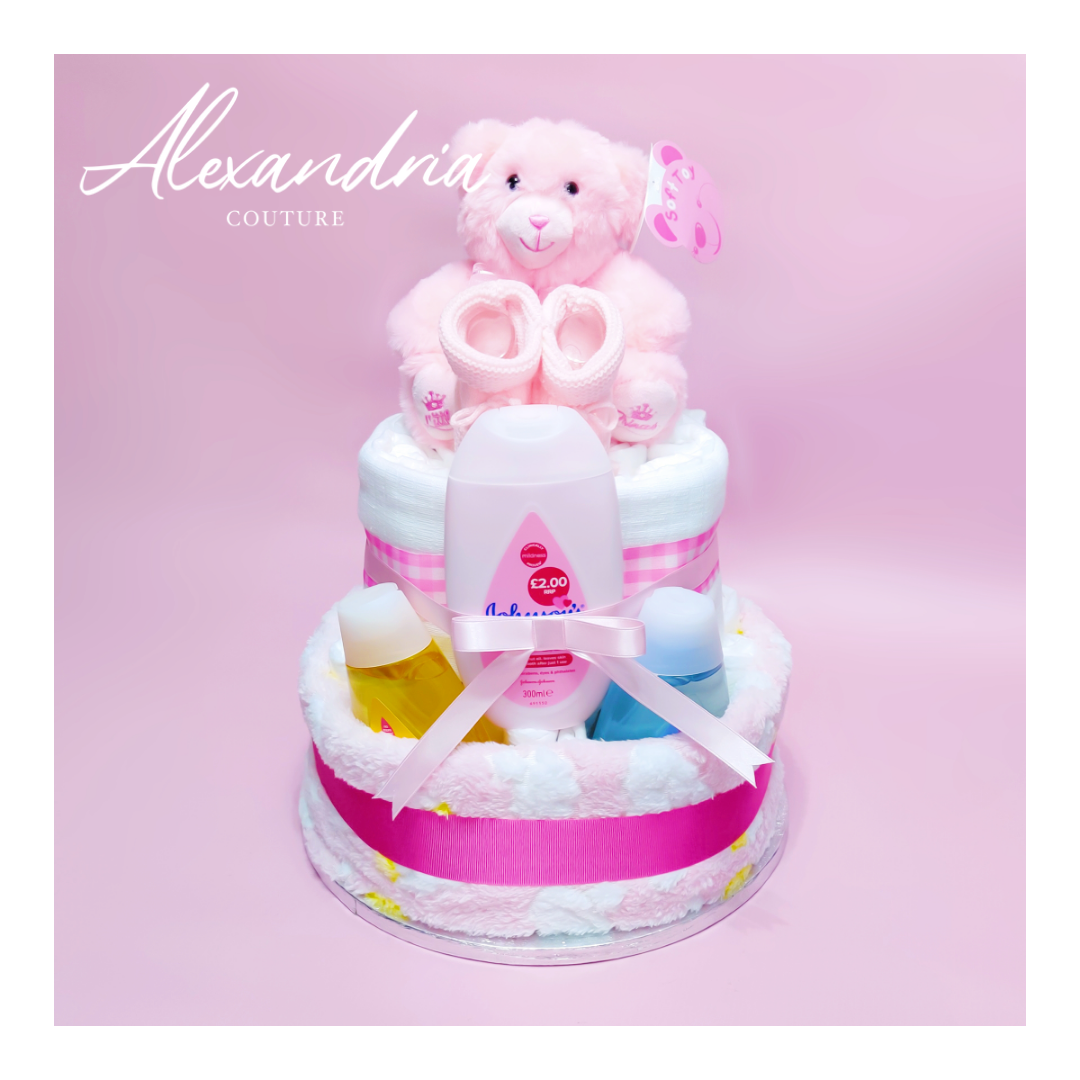 2 Tier Nappy Cake for Baby Girl