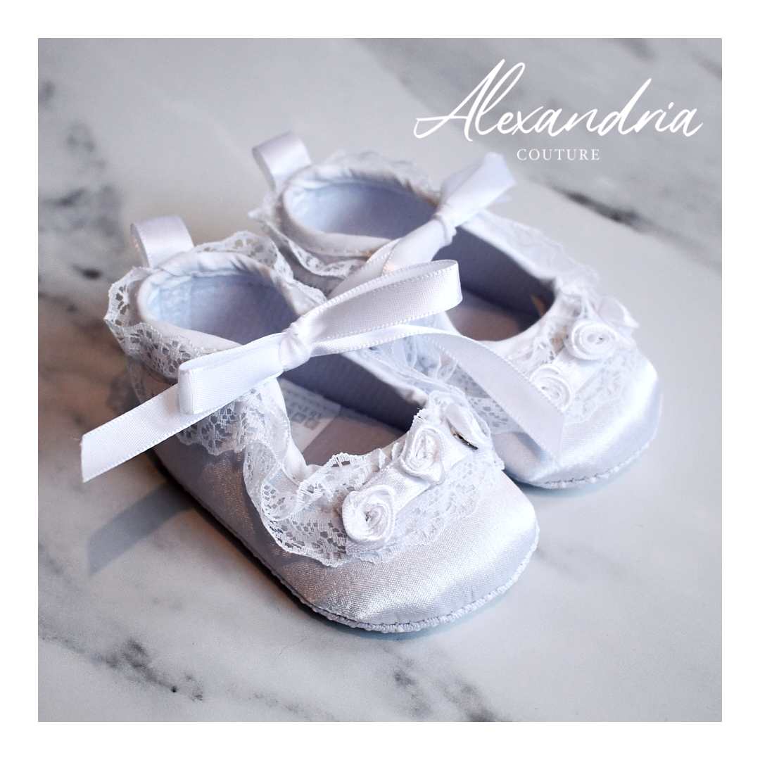 Girls Rose Bud & Lace Christening Shoes