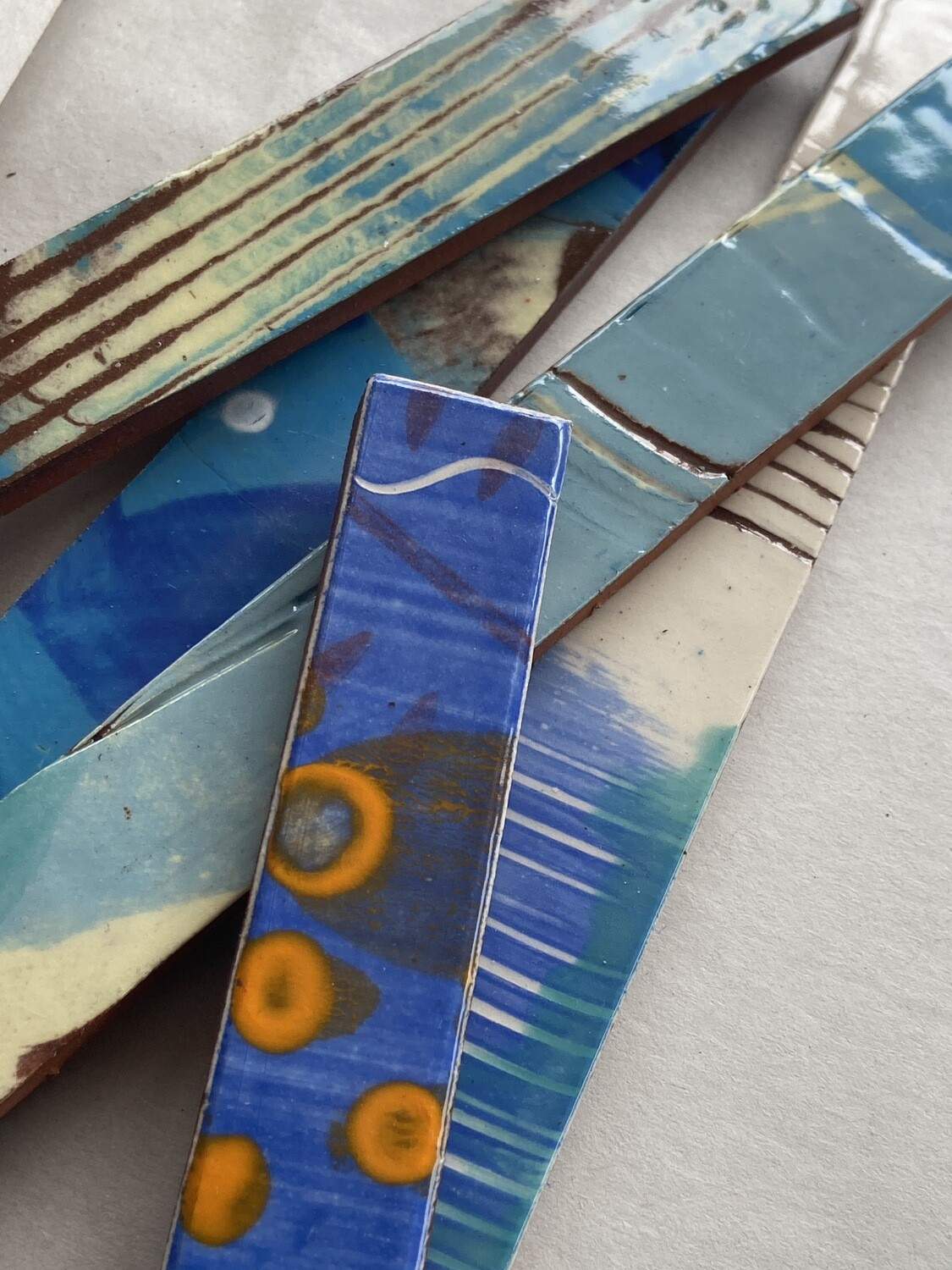 Blue UNSCORED hand painted strips x 5 (New quantity!)