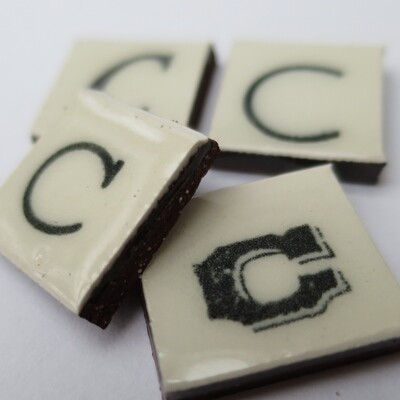 Ceramic scrabble sized hand printed A-Z letters