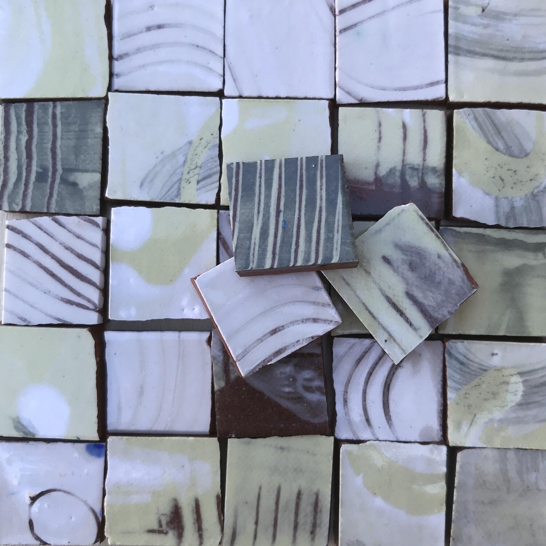 Neutral handmade single tiles (100g, minimum 30 tiles)