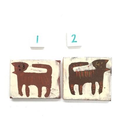 Nodding brown kittens, small tiles - 75mm x 60 ish mm x 4mm