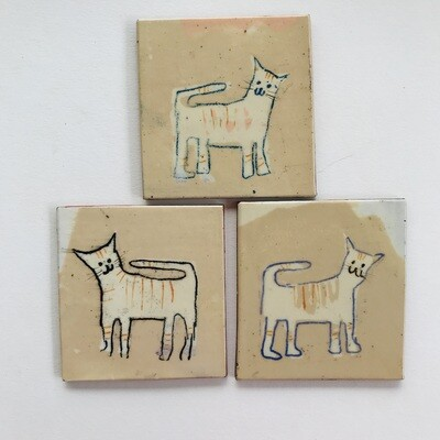 Happy cat tiles,  coloured coast sized small tile - 80mm x 65 ish x 4mm (varies slightly)