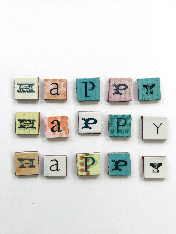 HAPPY lettering,  27 x 27  x 4mm