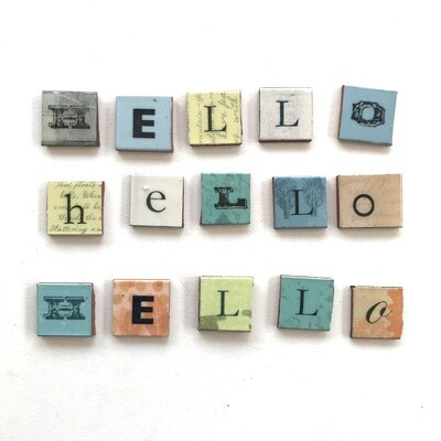 HELLO lettering,  27 x 27  x 4mm