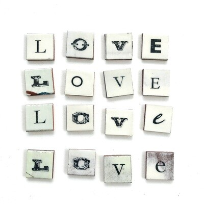 LOVE lettering,  27 x 27  x 4mm