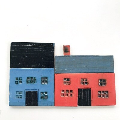 Colourful castle street.  Measurements from left to right 160 x 100mm x 4mm, 5 pieces