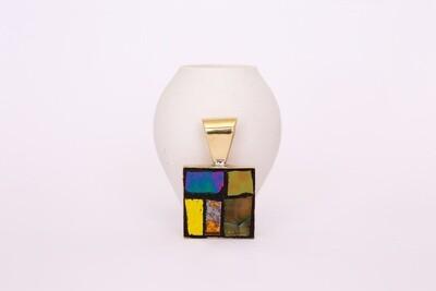 Mosaic pendant - brass setting square