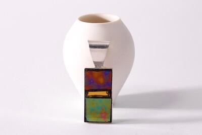 Mosaic pendant - silver setting setting, long