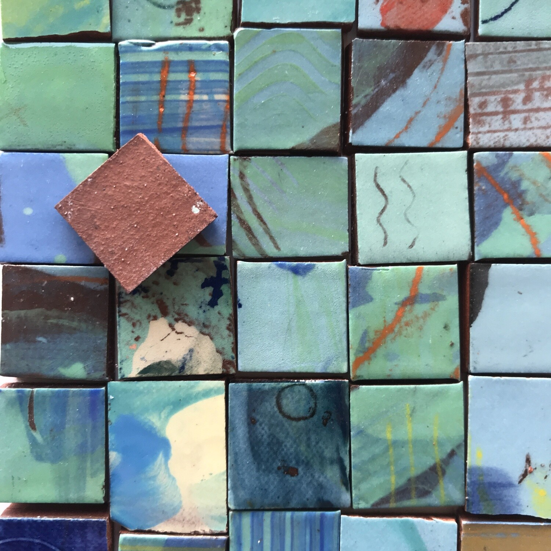 Blue/green handmade single tiles (100g minimum 30 tiles)