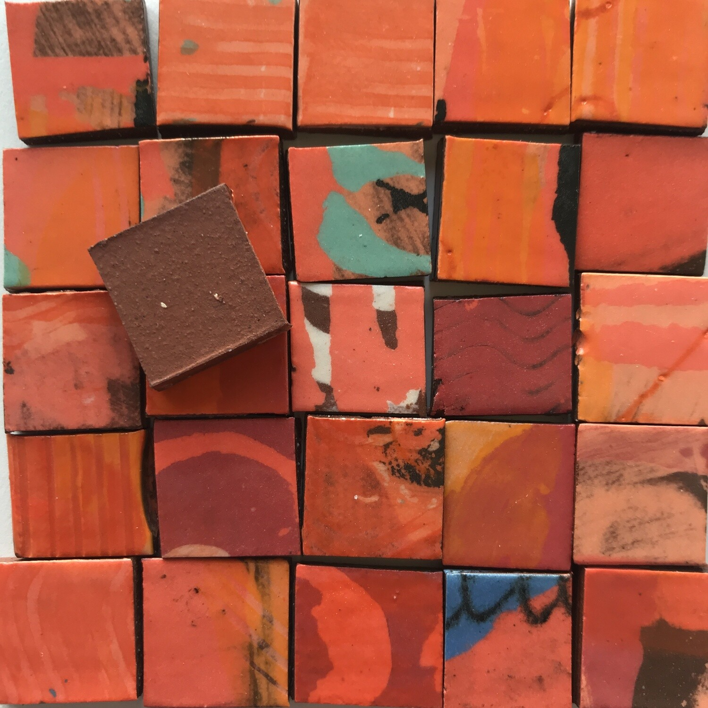 Red handmade single tiles (100g, minimum 30 tiles)