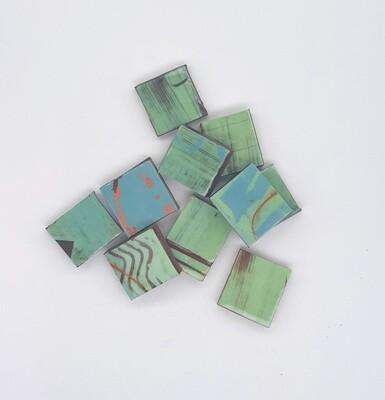 Green handmade single tiles - (new quantity 10 tiles)