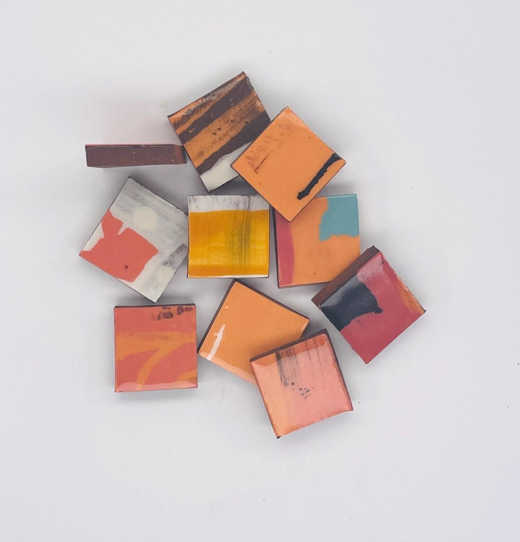 Red handmade single tiles, new quantity 10 tiles