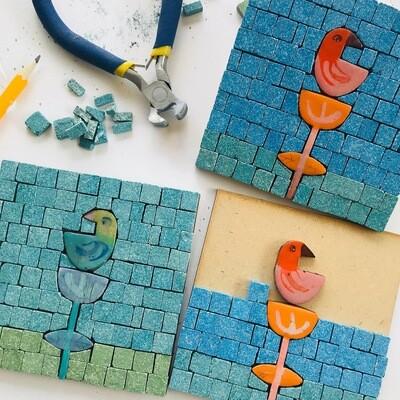 Mini mosaic kit - bird & flower