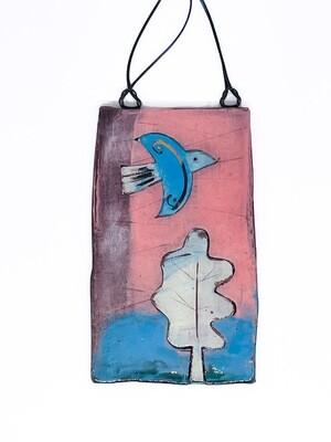 Hanging plaque, bird and bush