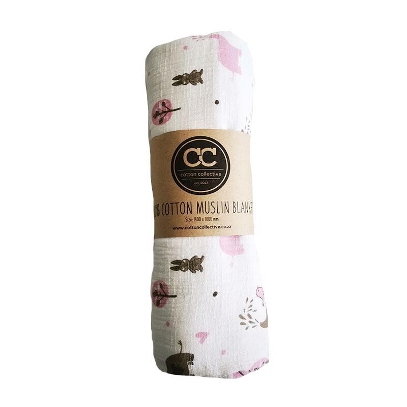 Muslin swaddle baby blankets - Ellie & Friends - Pink - 100% cotton