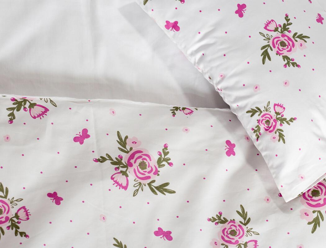 Cot Duvet Cover Set 2 Piece - Blooms & butterflies design