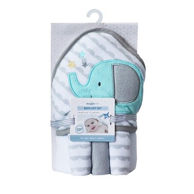 Hooded Bath Towel Gift Set - Elephant