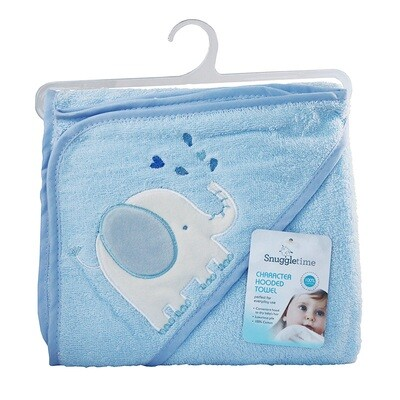 Hooded Bath Towel Blue Elephant