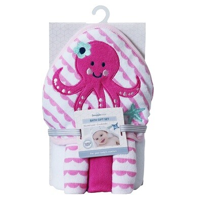 Hooded Bath Towel Gift Set - Octopus