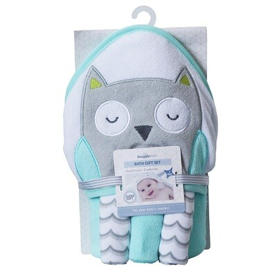 Hooded Bath Towel Gift Set - Owl
