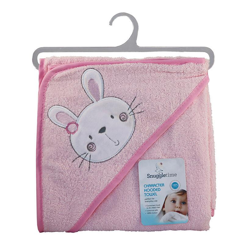 Hooded Bath Towel Pink Bunny