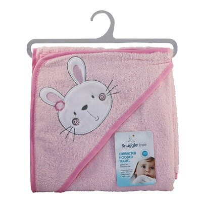 Hooded Bath Towel Pink Bunny
