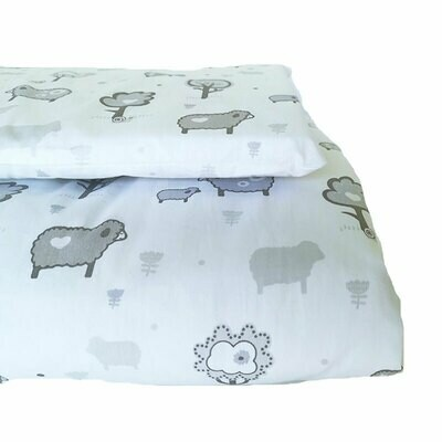 Cot Duvet Cover Set 4 Piece - Little Sheep Grey
