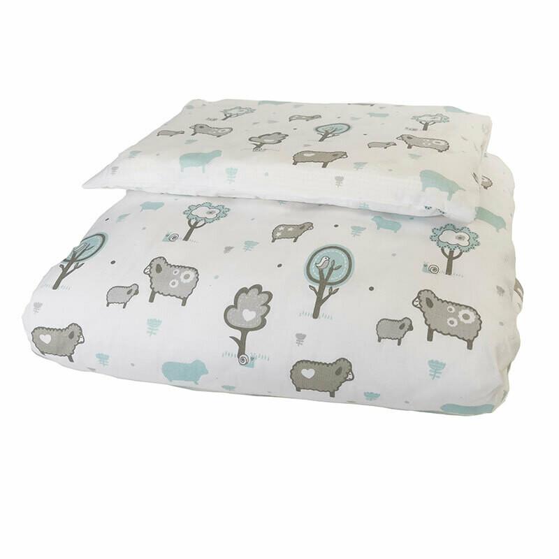 Cot Duvet Cover Set 4 Piece - Little Sheep Blue