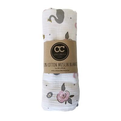 Muslin Swaddle Baby Blankets – Swan Princess – 100% Cotton