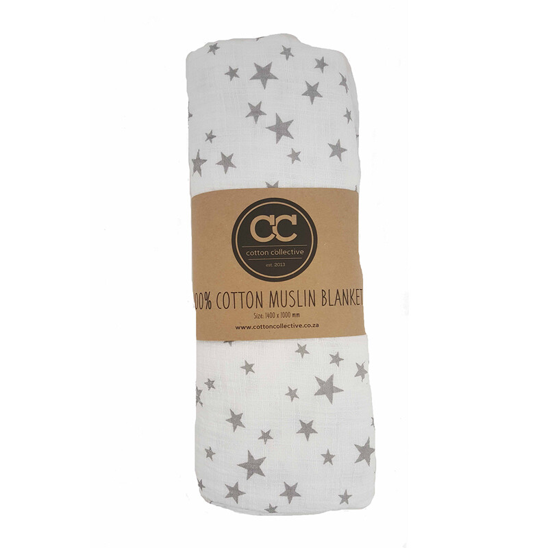Muslin swaddle baby blankets - Star - 100% cotton