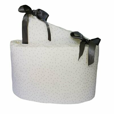 Cot Bumper Cover - Confetti Grey Polka Dot Design