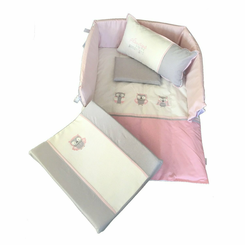 Owl Linen Set - Pink & Grey