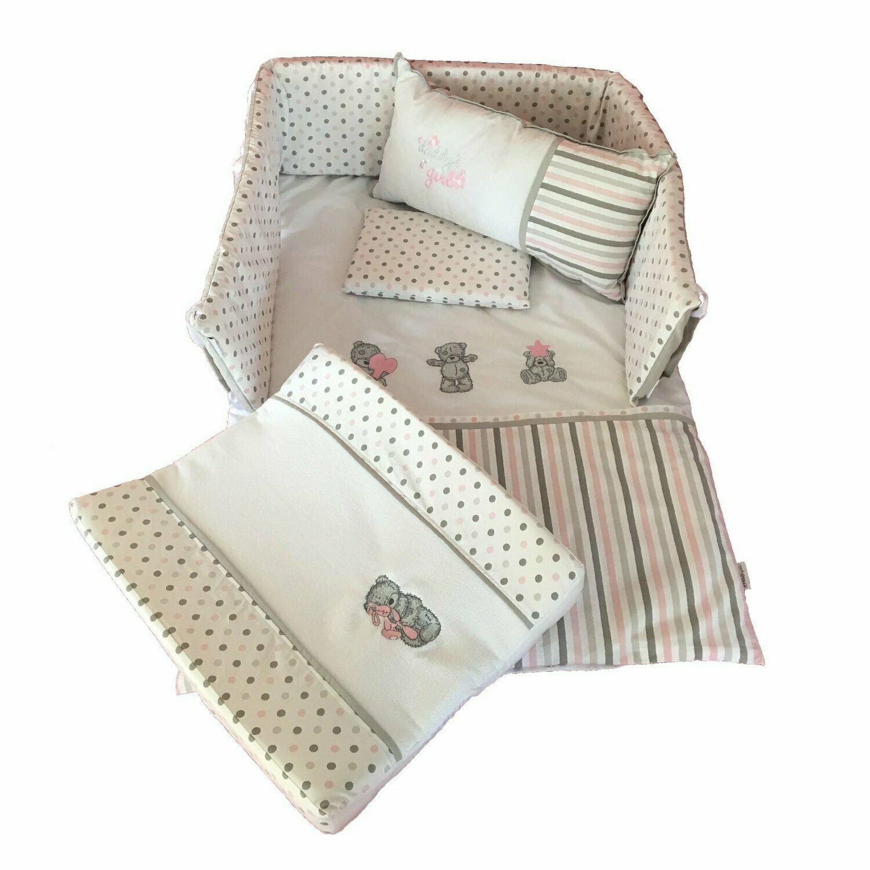 Scruffy Bear Linen Set - Grey & Dusty Pink
