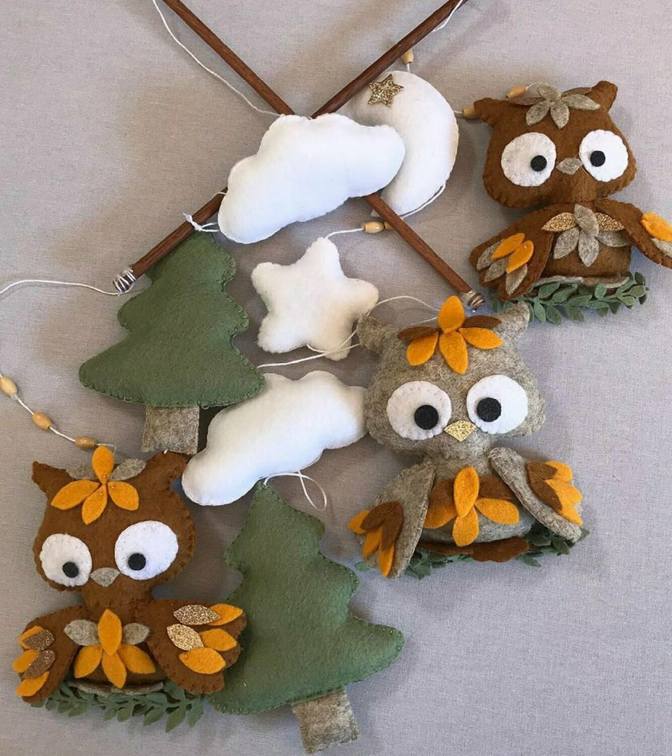 Owl Cot Mobile - Brown, Orange & Forest Green Felt