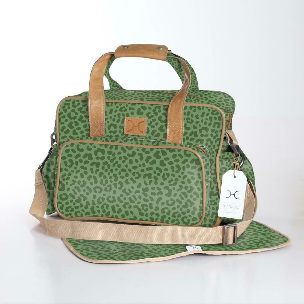 Cheetah Olive - Laminated Nappy Bag