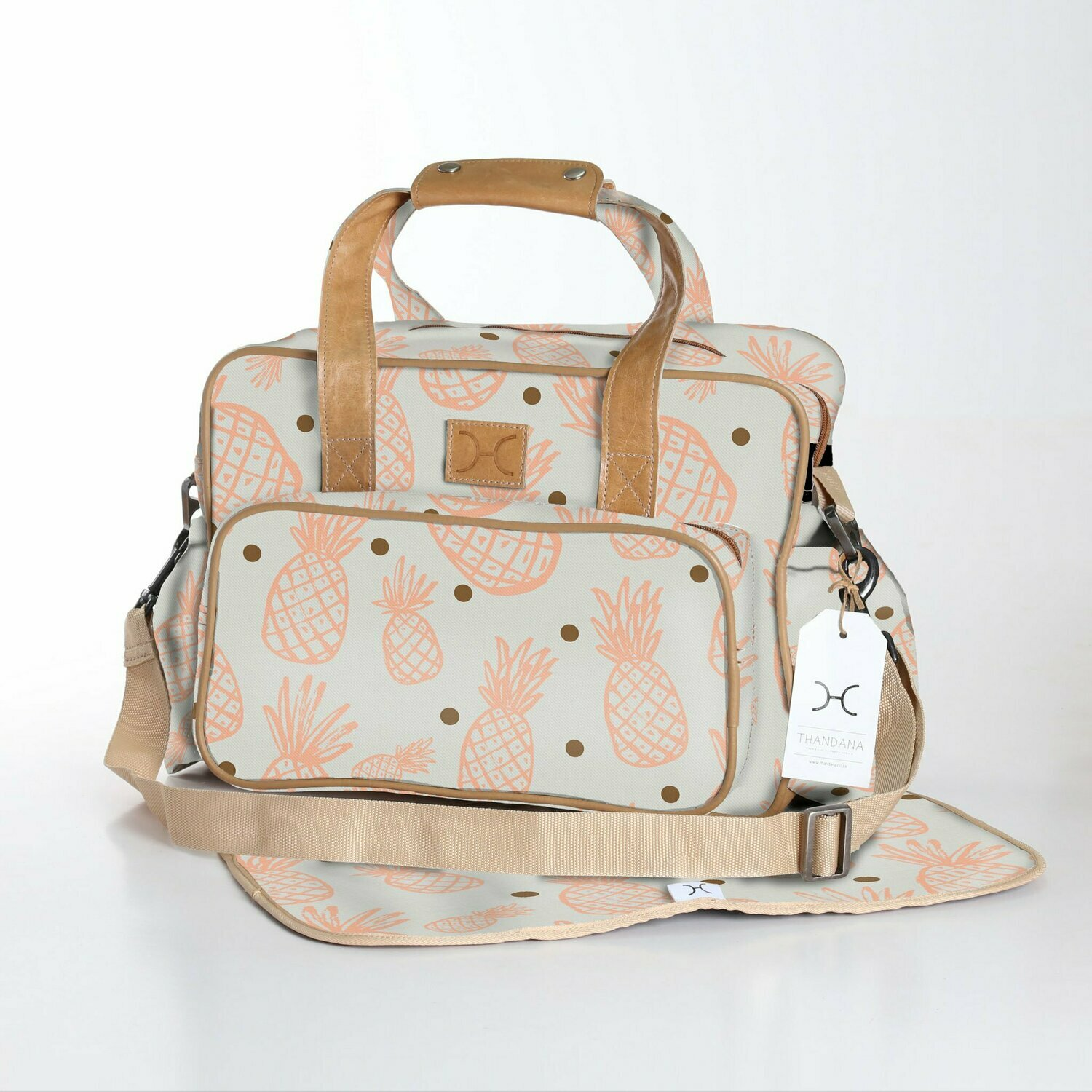 Pineapple Dotty Peach Nectar with Gold - Laminated Nappy Bag