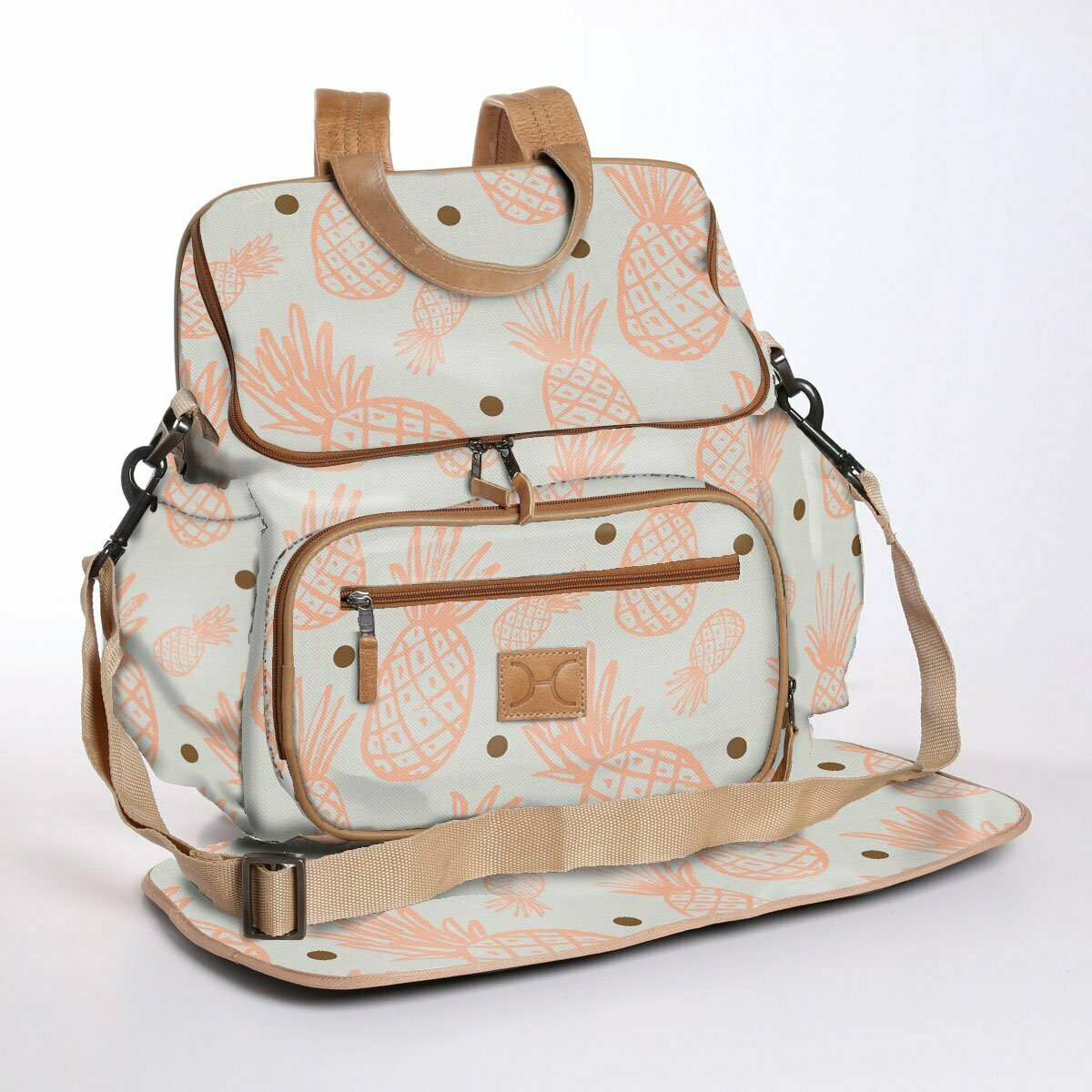 Pineapple Dotty Peach Nectar with Gold - Wax Coated Nappy Backpack