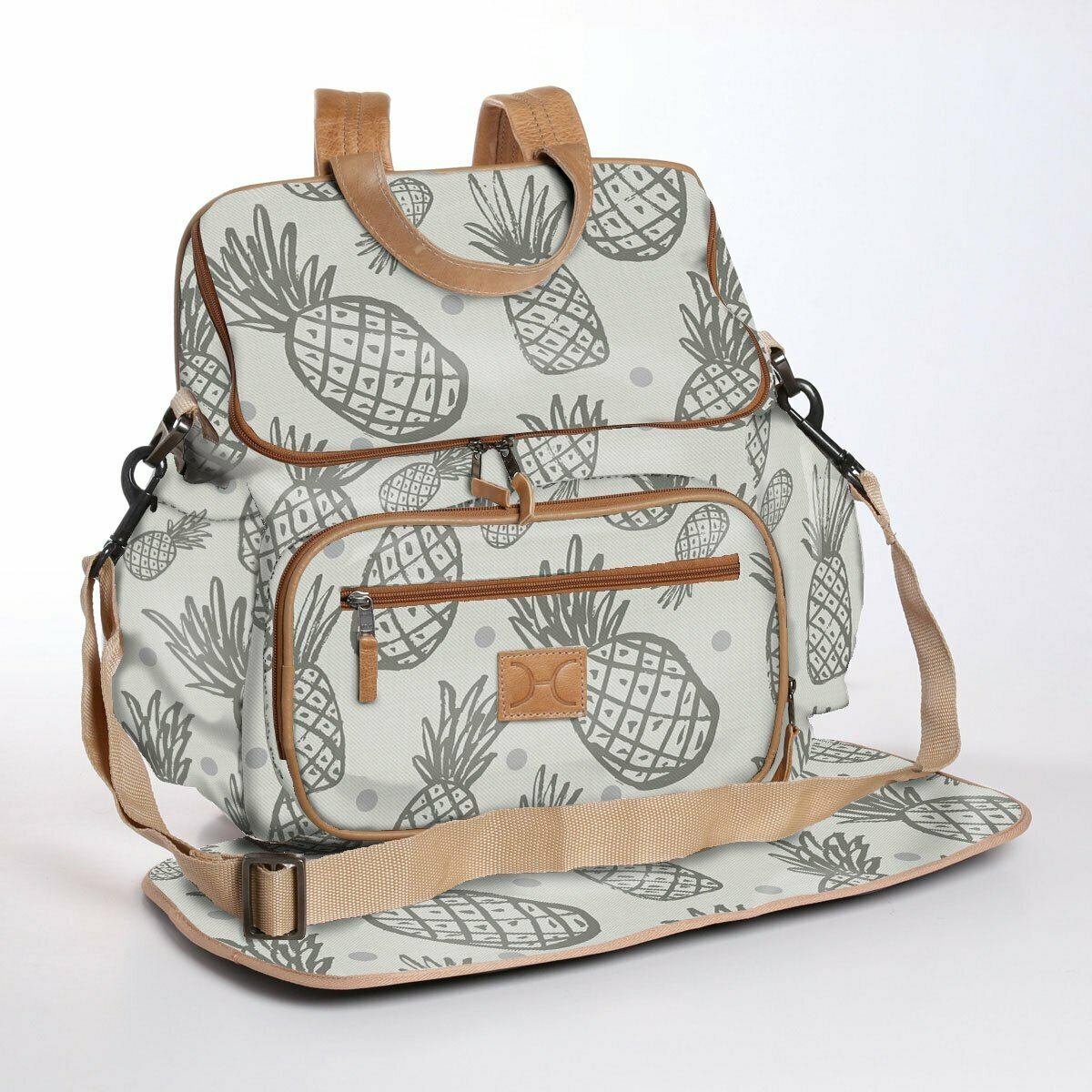 Pineapple Dotty Elephant Skin with Silver - Wax Coated Nappy Backpack