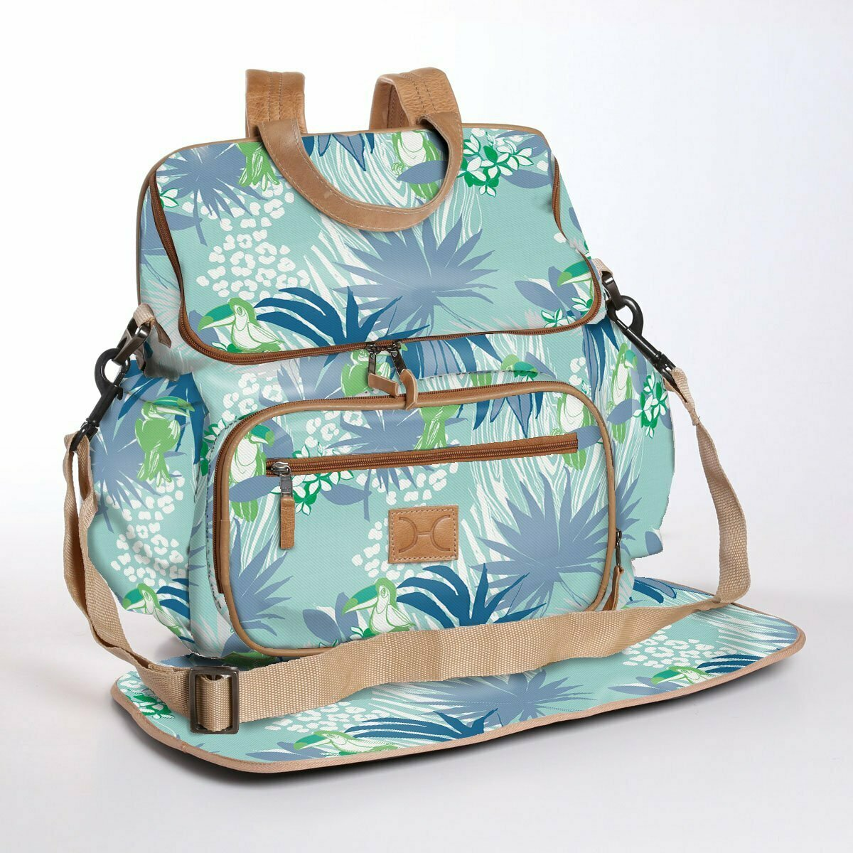 Toucan Tango Dazzling Blue - Wax Coated Nappy Backpack