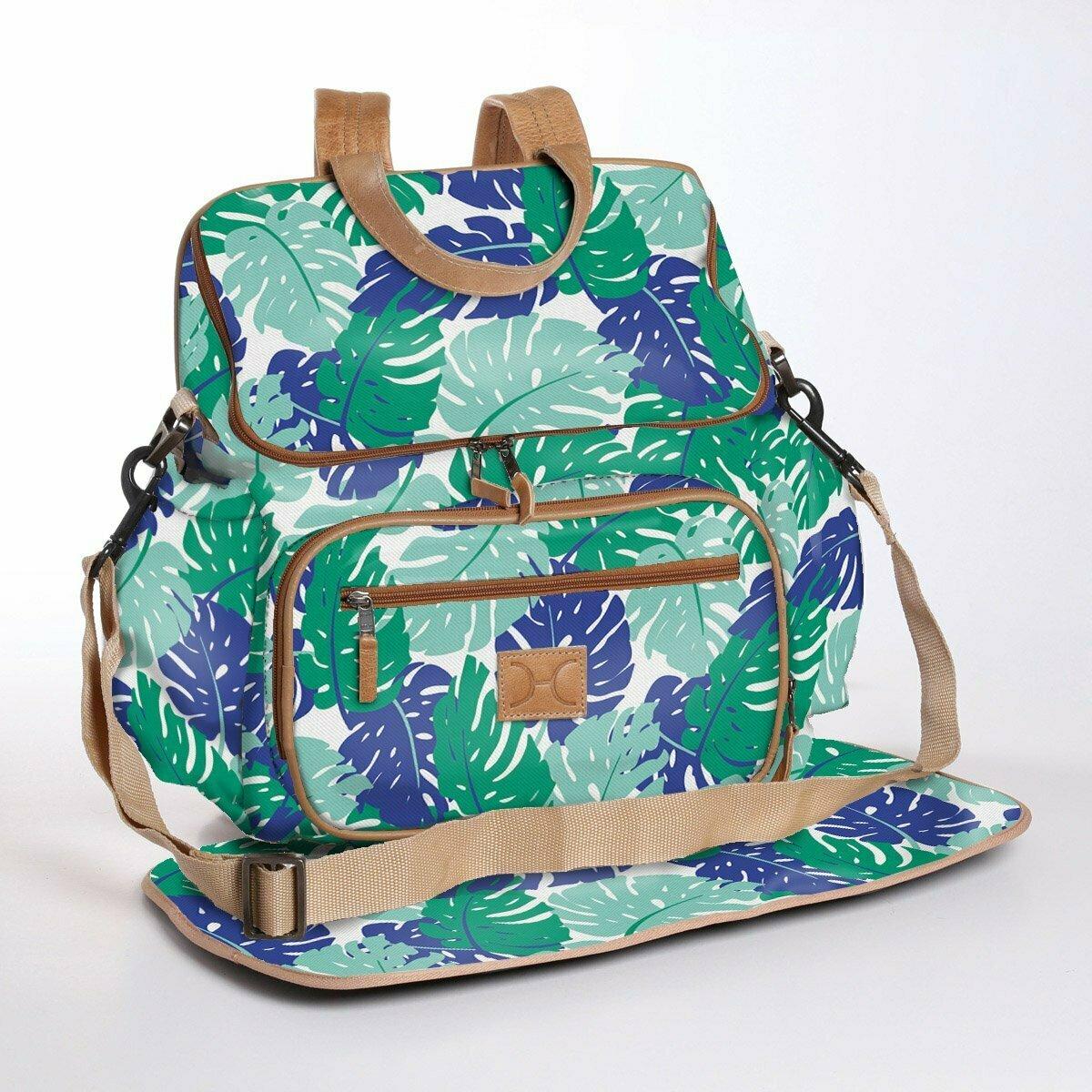 Leafing Around Emerald - Laminated Nappy Backpack