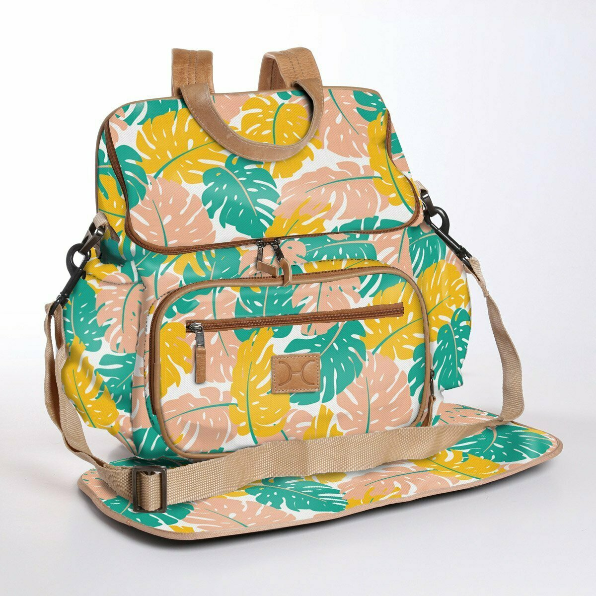 Leafing Around Daffodil - Laminated Nappy Backpack