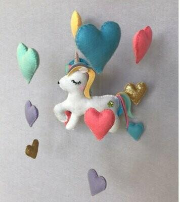 Unicorn Cot Mobile - Bright Felt