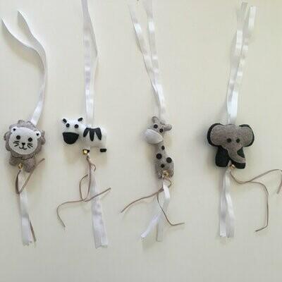 Jungle Animals Swing Set - Stone, Grey & White