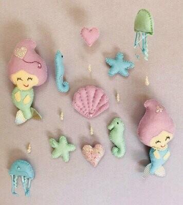 Mermaid Cot Mobile - Felt