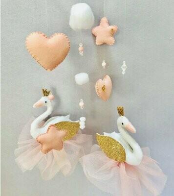 Swan Cot Mobile - Blush & Gold Felt